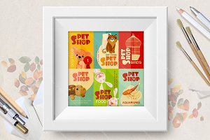 Vintage pet shop poster design. Set