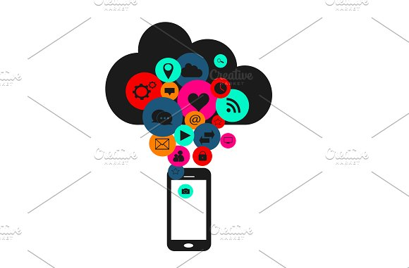 Cloud with social media, smartphone in Icons