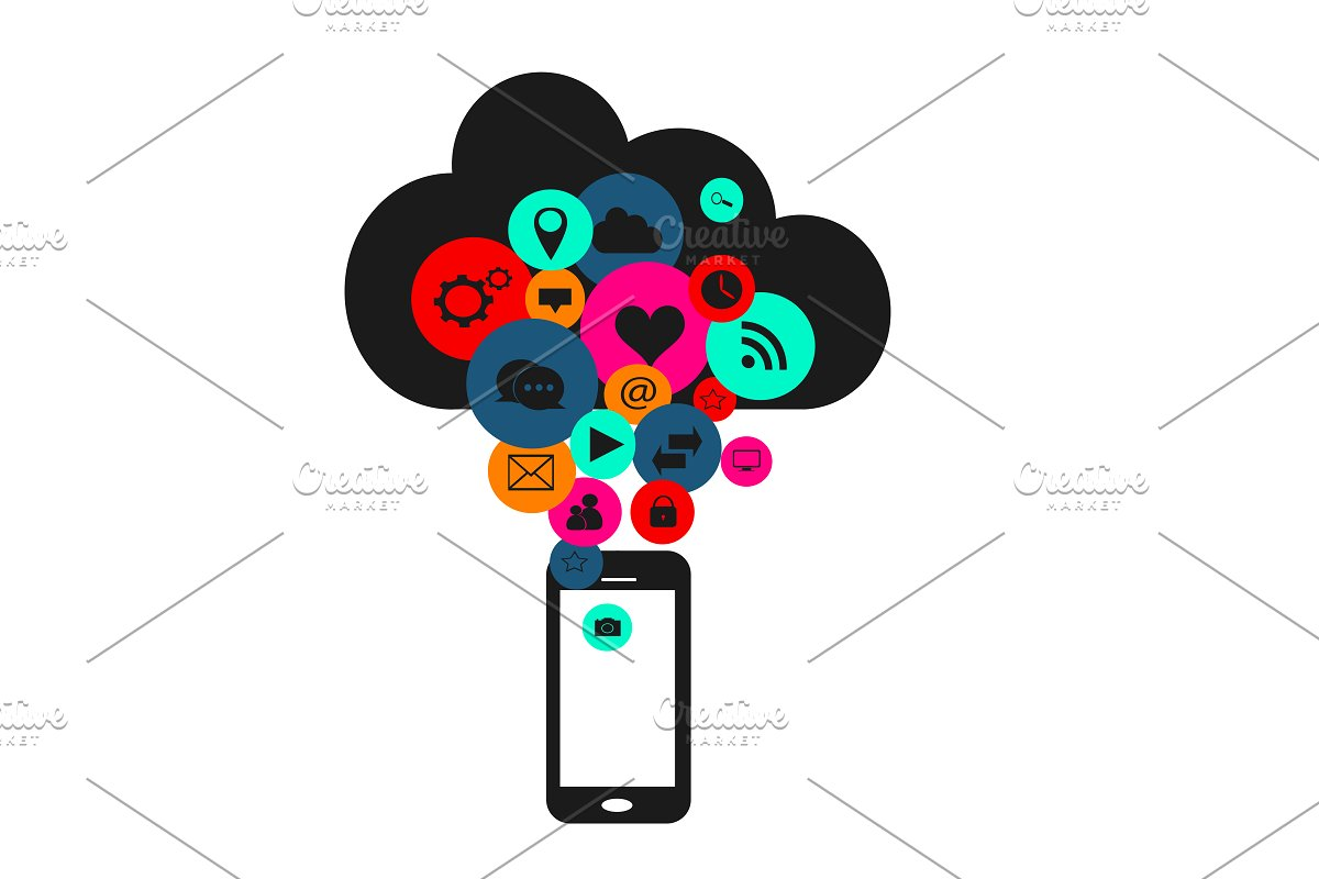 Cloud with social media, smartphone in Icons - product preview 8
