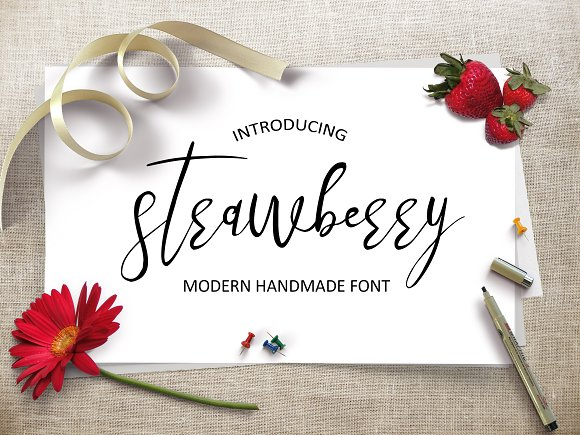 Strawberry in Script Fonts