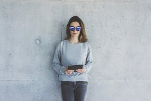 Hipster girl with digital tablet