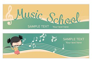 Musical instrument banner template