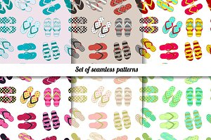 6 Pattern with colorful flip flops.