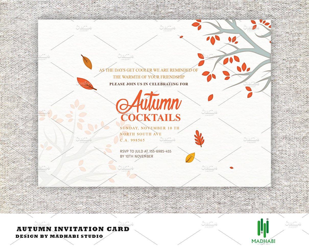 autumn cocktails party invitation invitation templates creative