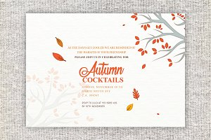 Autumn Cocktails Party Invitation