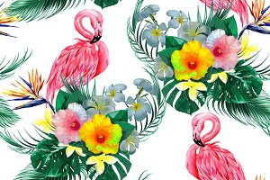 Flamingos,tropical flowers pattern