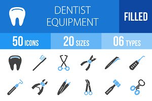 50 Dentist Blue & Black Icons
