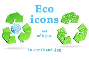 Eco environment protection icons set