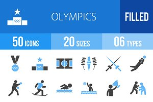 50 Olympics Blue & Black Icons