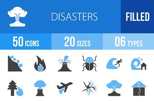 50 Disasters Blue & Black Icons