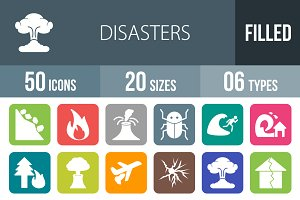 50 Disasters Flat Round Corner Icons