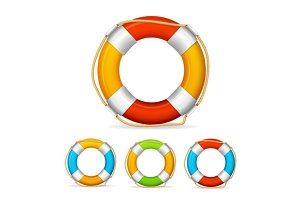Life Buoy Color Set. Vector