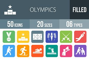 50 Olympics Flat Round Corner Icons