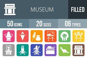 50 Museum Flat Round Corner Icons