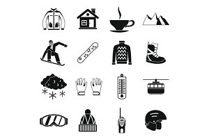Snowboarding icons set, simple style