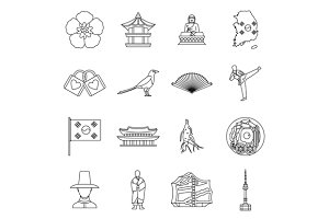 South Korea icons set, outline style