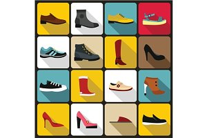 Shoe icons set in flat style