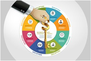 Business Infographic Hand with Key
