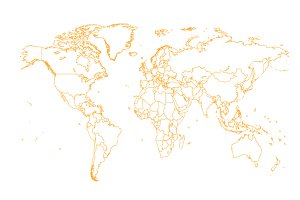 World map with borders orange color