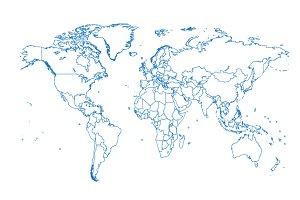 World map with borders blue color
