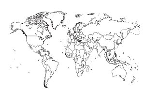 World map with borders black color