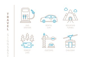 Travel lineart iconset
