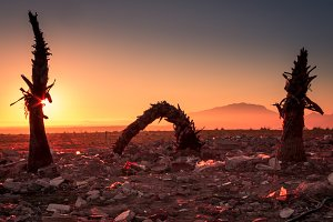 Sunrise over rublle landfill