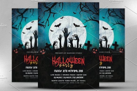 vintage halloween party flyer v3 flyer templates creative market