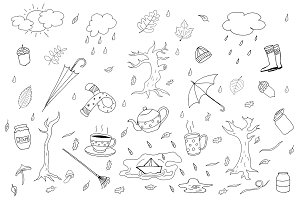 Autumn collection in doodle style.
