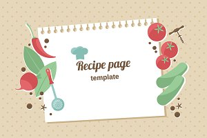 Cooking recipe page vector template