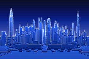 Blue futuristic city. 3d rendering