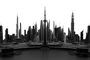 Black futuristic city. 3d rendering