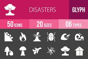 50 Disasters Glyph Inverted Icons