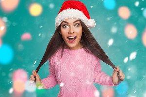 model in Santa Claus hat