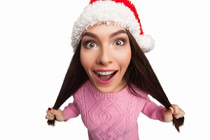 model in Santa Claus hat