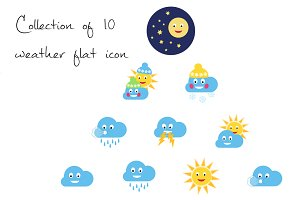 Collection of 10 weather flat icons