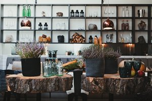 Cozy Autumn Interior of Modern Cafe