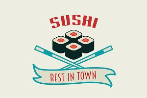 Japanese sushi vector logo