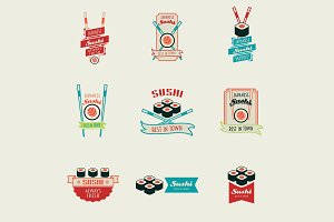 Set of sushi logos templates