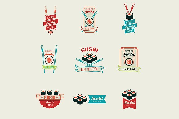 Set of sushi logos templates in Logo Templates