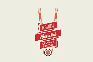Sushi vector logo, label or badge