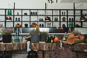Modern Cafe with Autumn Decorations