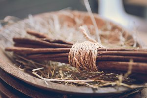 Cinnamon Stick on Wooden Plate