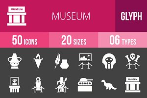 50 Museum Glyph Inverted Icons