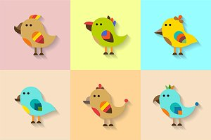 Cute flat birds set