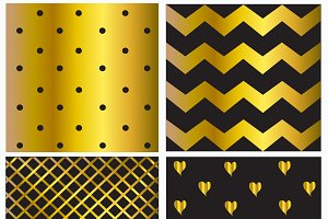 4 patterns gold and black color