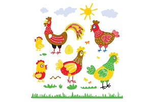 Set hen rooster chicken for children