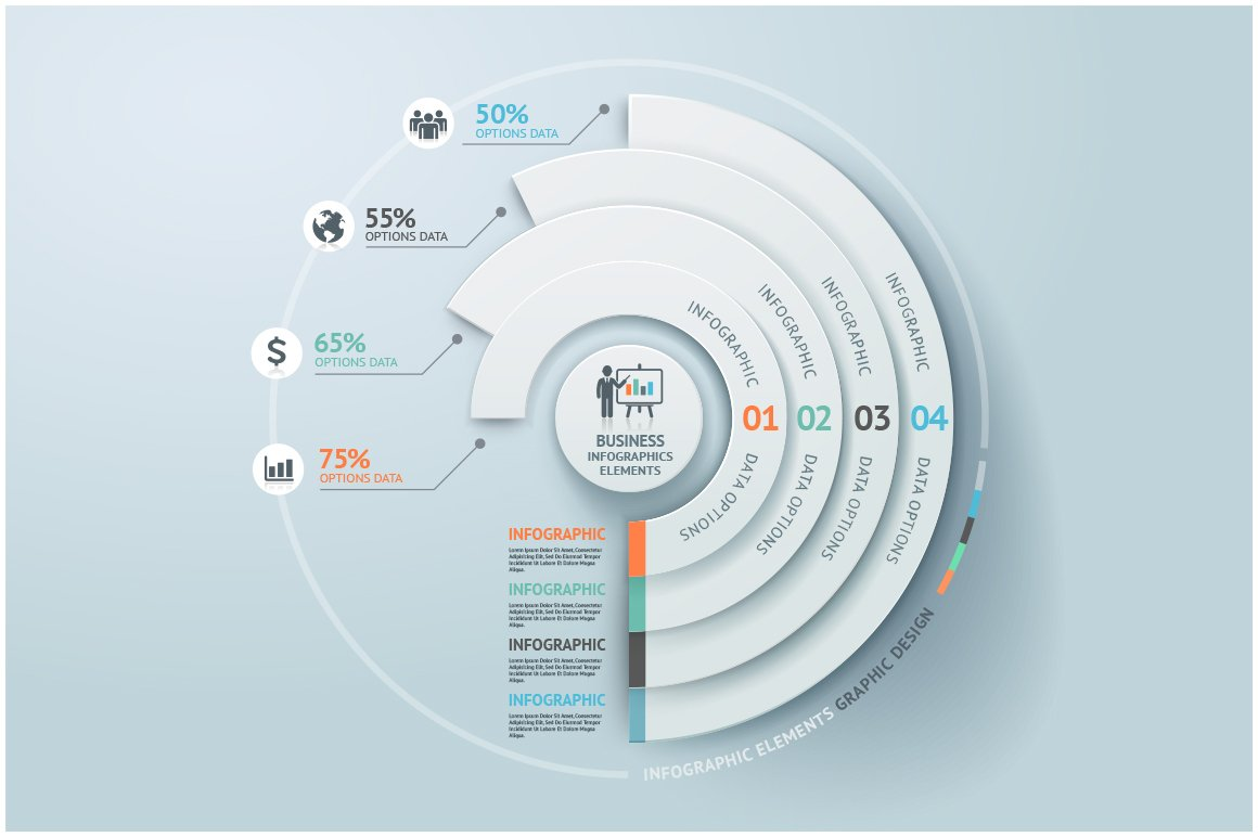 Business infographic circle elements objects creative market ccuart Images