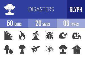 50 Disasters Glyph Icons
