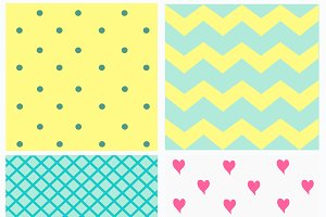 Pattern with dots and hearts light